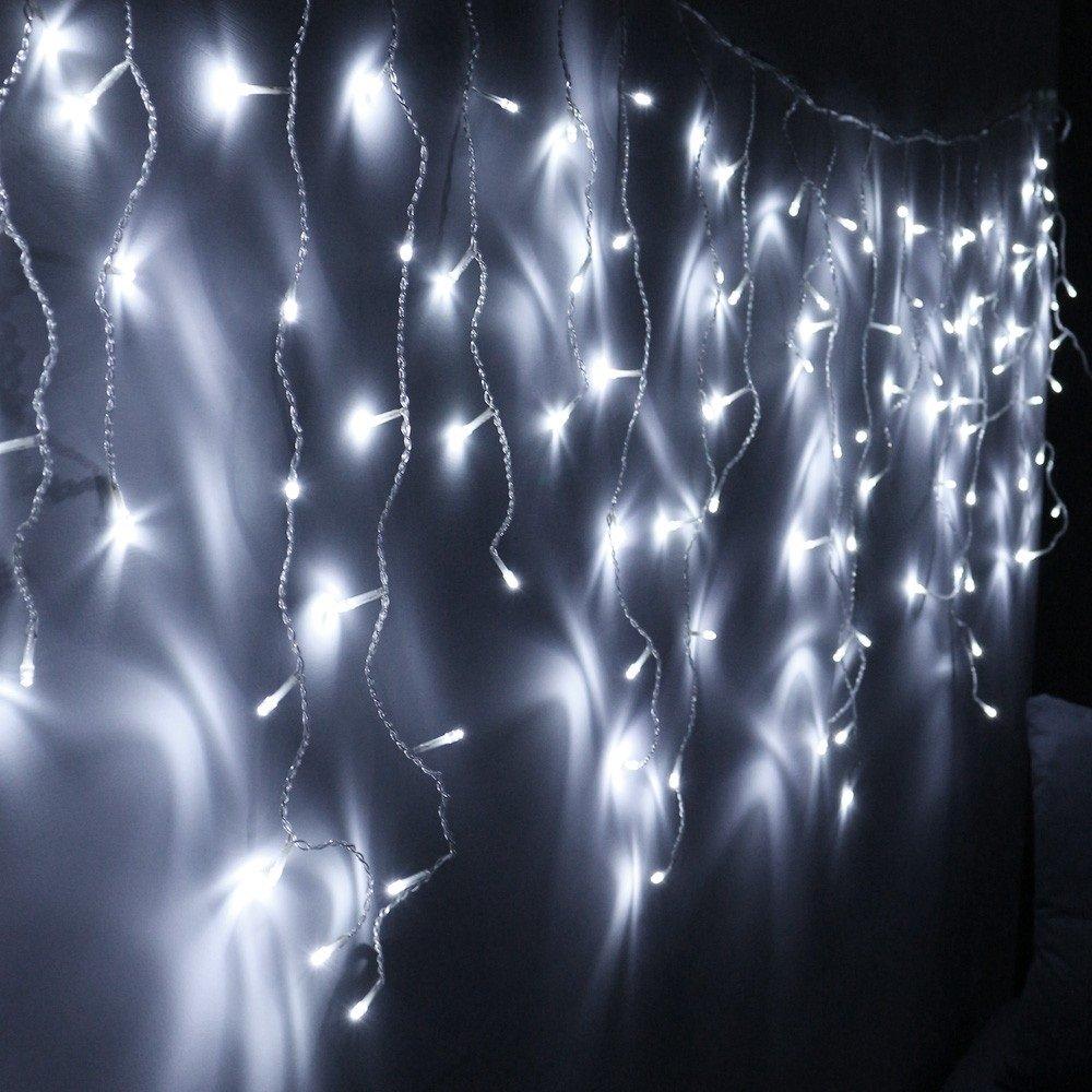 VINGO 20m 600 LED Eiszapfen Lichterkette Warmweiß Außenlichterkette Wasserdicht für Weihnachten Halloween Geburtstag außen VGO ZD-ST-600L65M