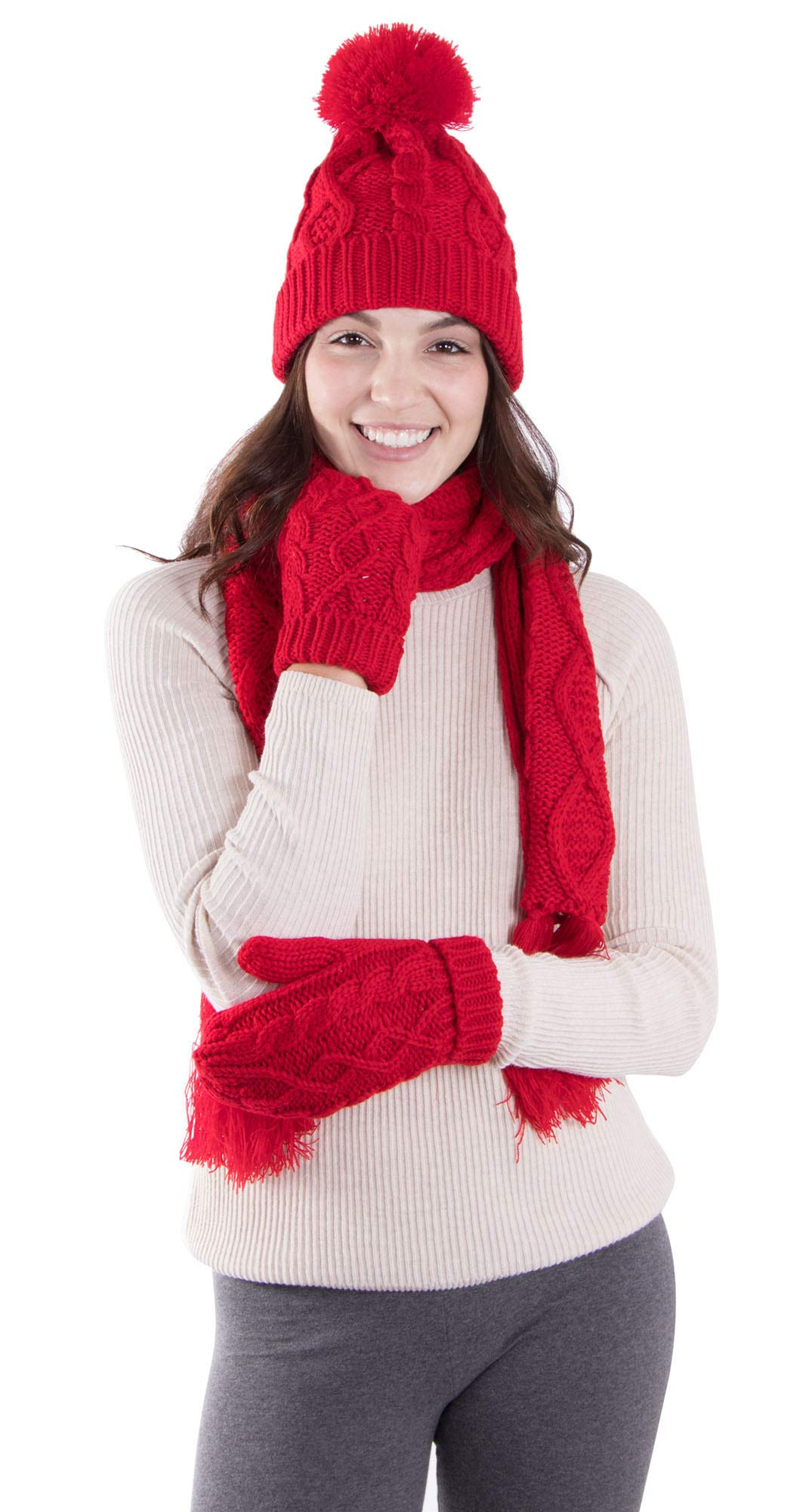 ANDORRA - 3 in 1 - Soft Warm Thick Cable Hat Scarf & Gloves Winter Set, Red by Andorra (Image #2)