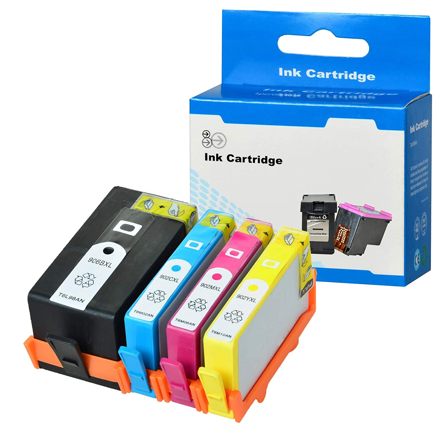 1 Large Black,1 Cyan,1 Yellow,1 Magenta,4-Pack SuperInk Remanufactured Ink Cartridge Compatible for HP 902 902XL 902 XL 906XL with Chip use in OfficeJet Pro 6960 6968 6970 6974 6975 6978 Printer