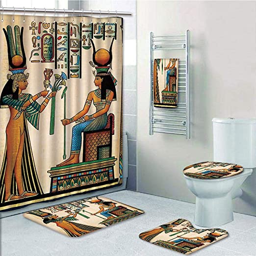 Old Egyptian Papyrus Queen Nefertari Empire Artwork Print Shower Curtain Set
