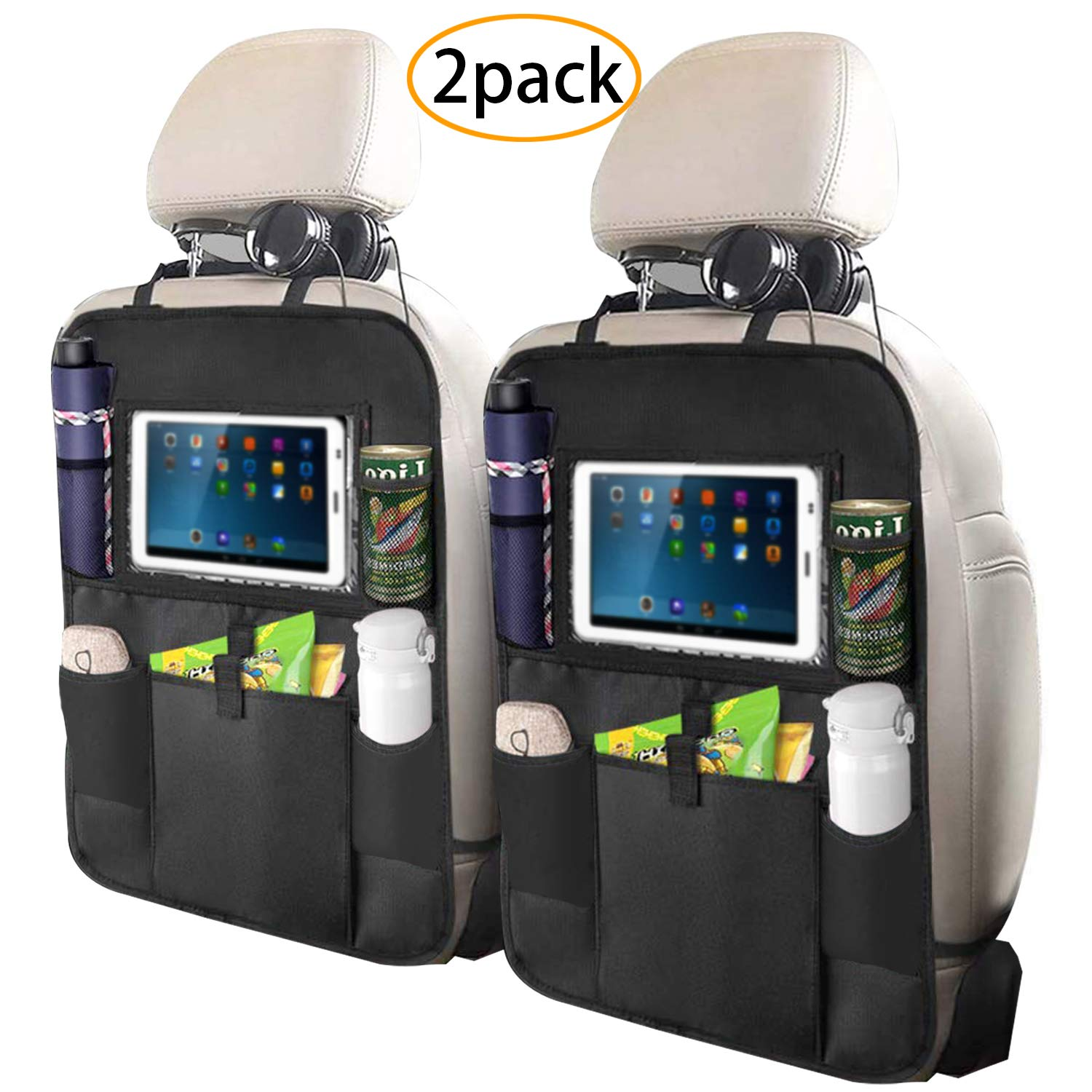 Fullsexy 2 Pack Car Back Seat Organizer with Touch Screen Tablet Holder, Waterproof Kick Mats Backseat Protector with 5 Storage Pockets for Kids (25'' X 18'') by Fullsexy