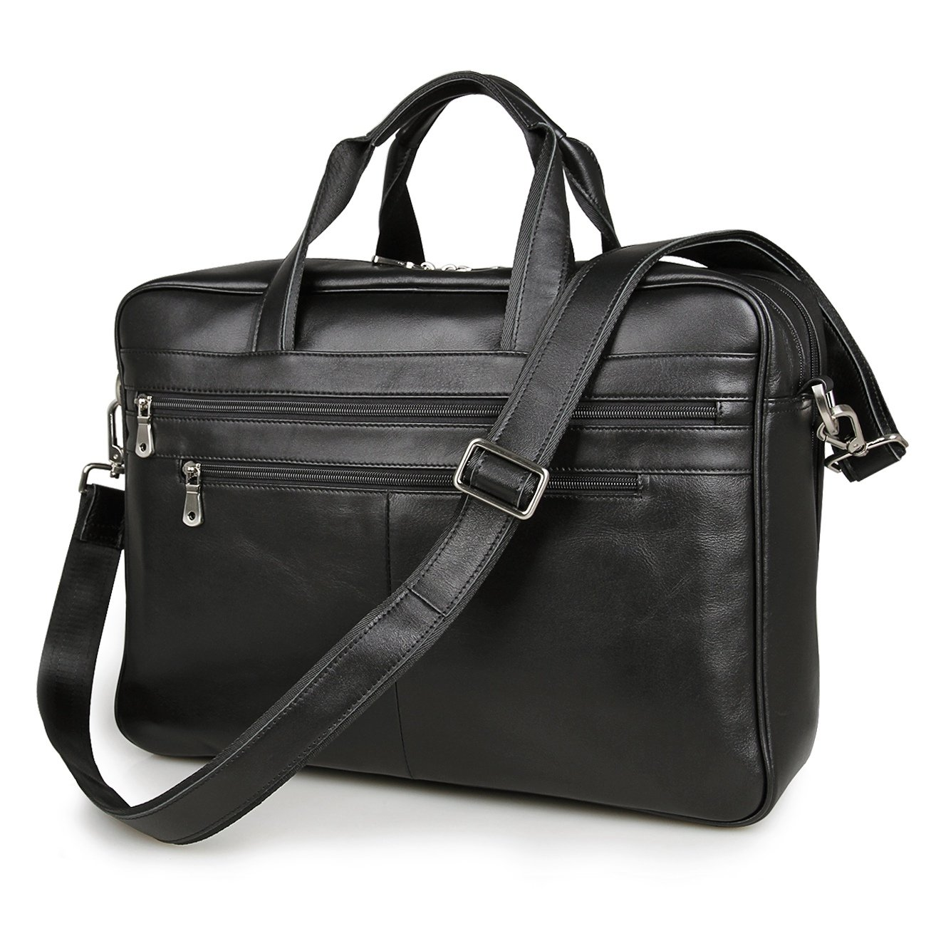 Black 17'' Laptop Attache Briefcase Professional Real Leather Tote Business Bag Shoulder Messenger Bag