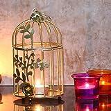 Webelkart Gold Color Metal Bird cage Tea Light Holder with Flower Vine for Home Décor