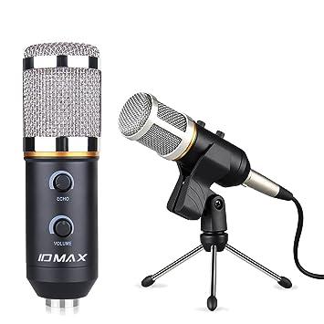 PC micrófono, ID Max profesional micrófono de condensador USB 3,5 mm Plug and