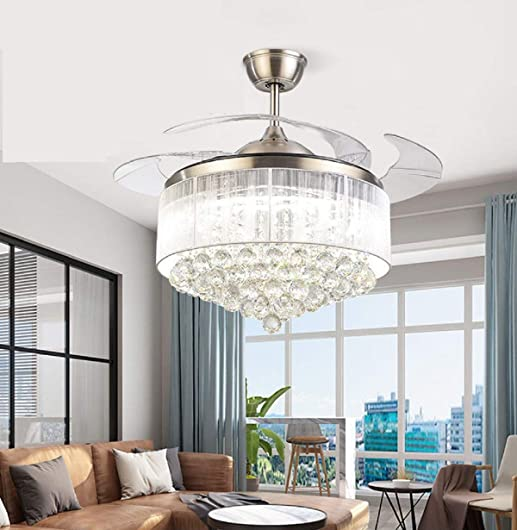 42inch Chrome Dimmable Fandelier Crystal Ceiling Fan