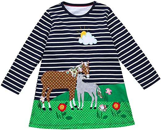Suma-ma Girls Dress,Spring Clothes Horse Print Embroidery Princess Party Dress for Toddler Baby Girl Kid 1-6 Years