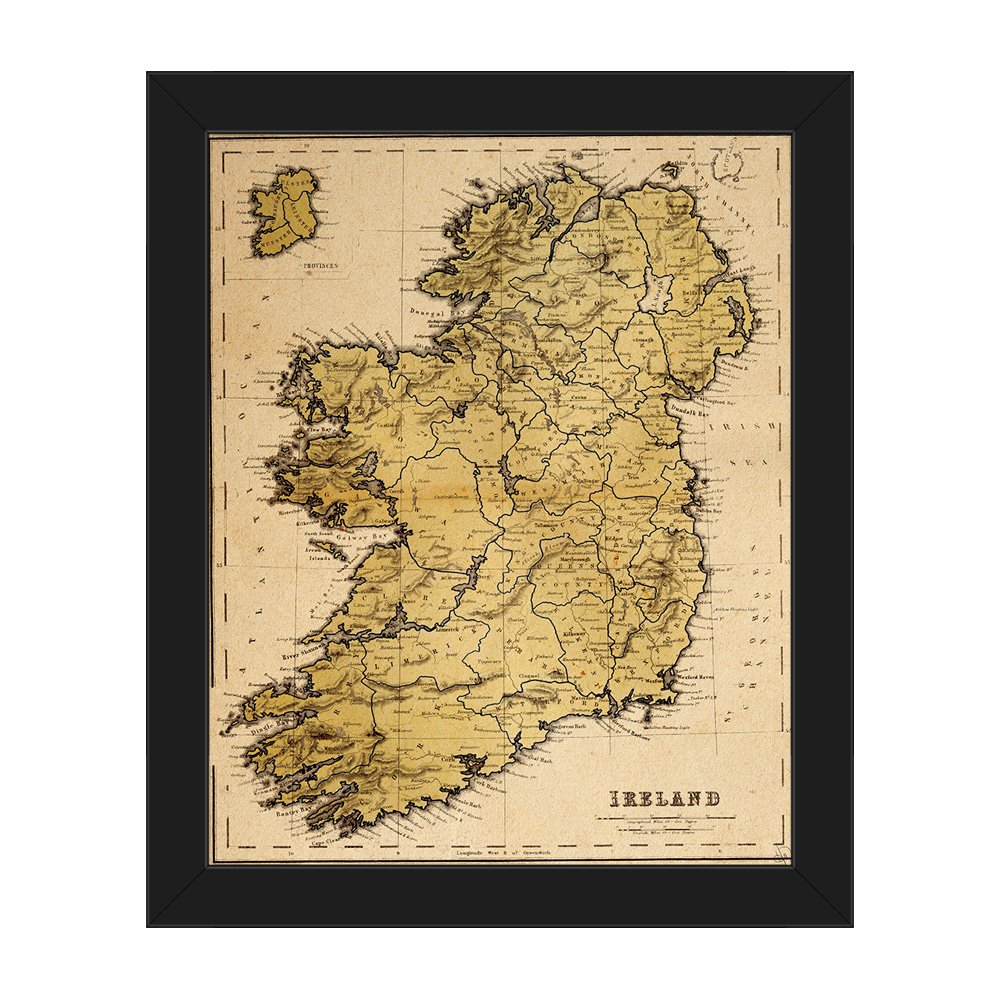 Amazon.com: Distressed Antique Vintage Map of Ireland in Aged Yellow ...