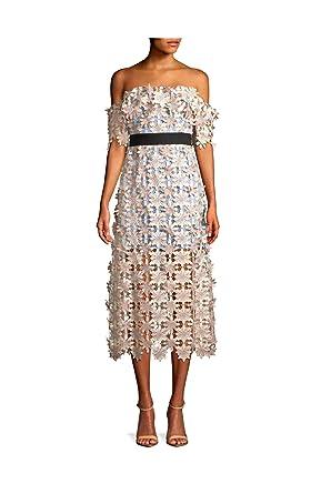 93468c4055cb0 Image Unavailable. Image not available for. Color: Self Portrait 3D Floral  Off Shoulder Lace Midi Pink Multi Dress ...