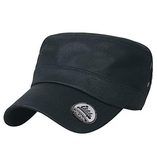 8c0d0e4f ililily Coated Solid Color Military Army Hat Logo Printed Adjustable Cadet  Cap, Black