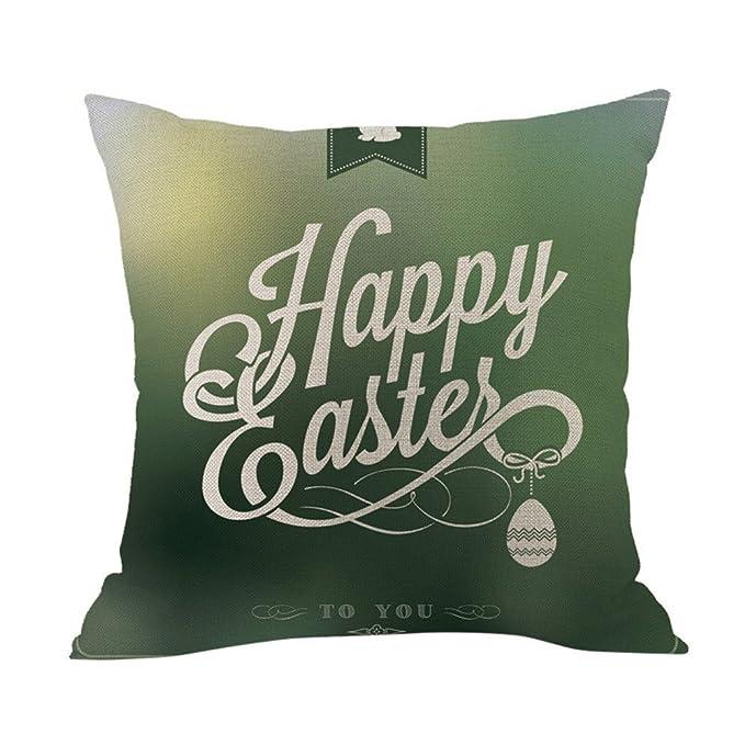 LANSKIRT_ Fundas de Cojin 45x45 CM Funda de Almohada de Moda Altamente Flexible Conejito de Pascua patrón Impreso Funda de Almohada de Pascua para Cama sofá ...