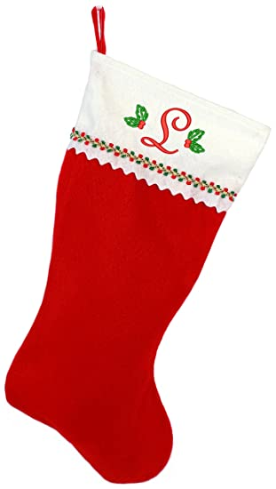 embroidered initial christmas stocking red and white felt initial l