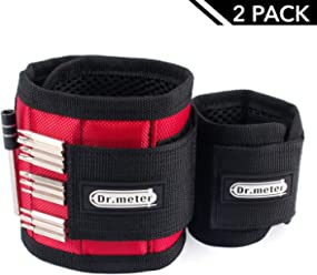 Magnetic Wristband, Dr.meter Red Magnetic Wrist Bands Tool Belt with Super Strong 15