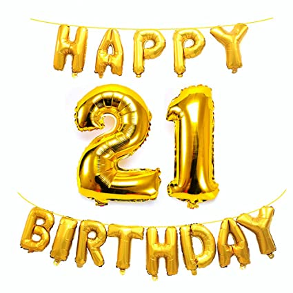 AZOWA Big 21 Balloons Jumbo Number With Happy Birthday Letter For