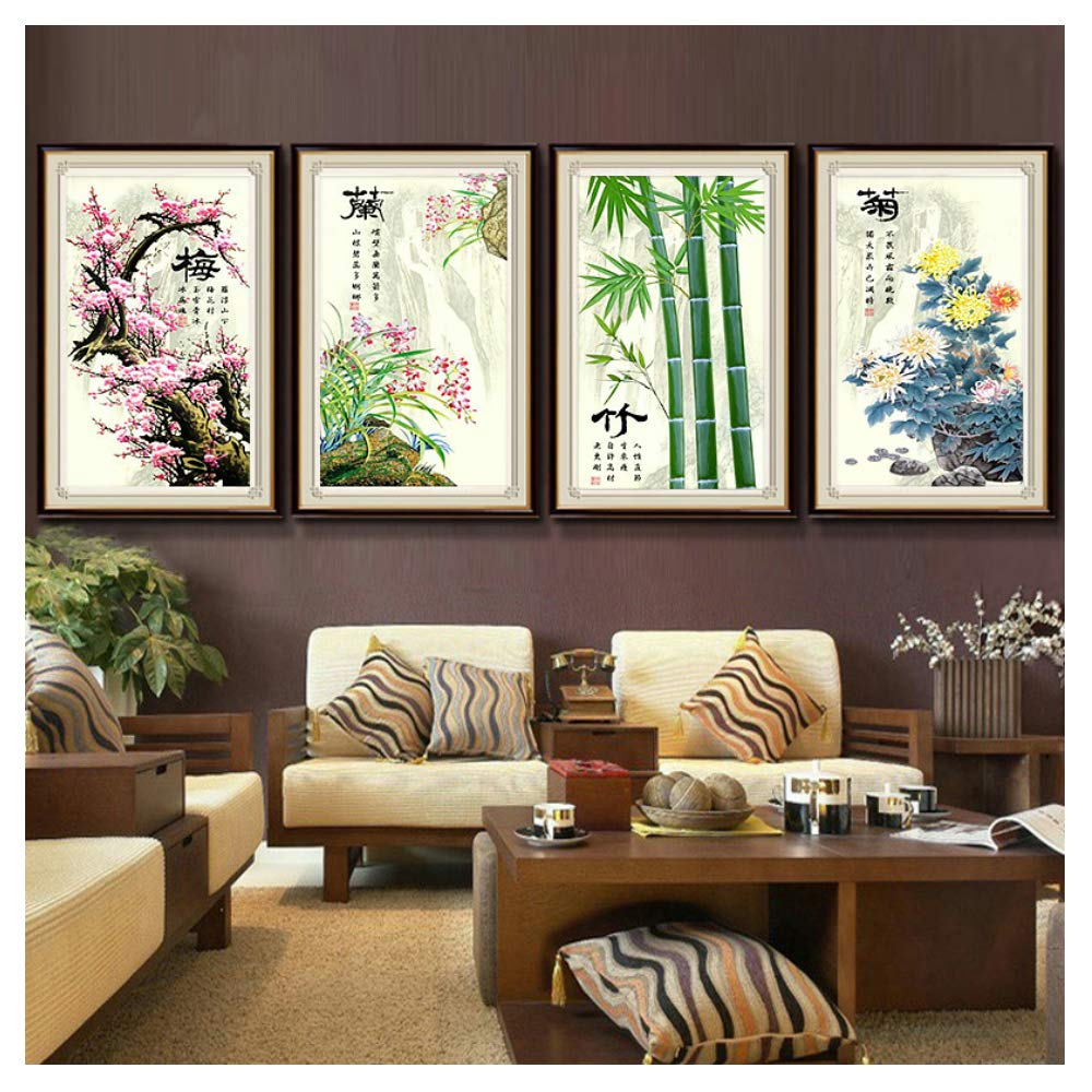 bamboo Cross stitch Chinese style P0022 plum blossom orchid chrysanthemum