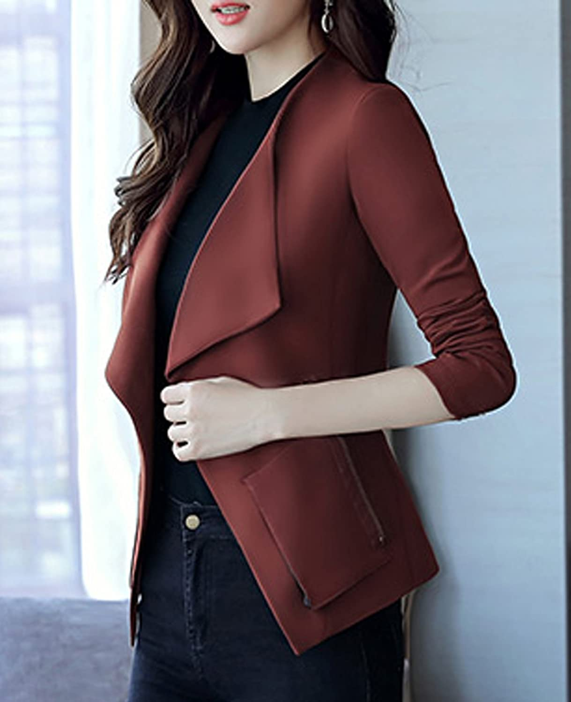 S/&S-women Fashion Solid Large Lapel Cardigan Short Blazer Suit Jacket Outwear