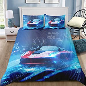 Helehome Race Car Duvet Cover Sets Boy's Sport Bedding Set with Zipper Closure for Kids 3 Piece Brushed Microfiber Fabric Print,Queen Size