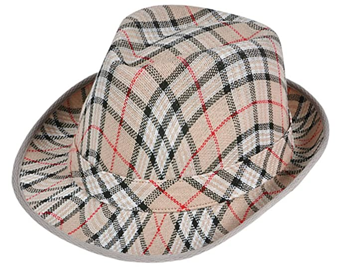 Amazon.com  Deluxe Tan Brown Red White Plaid Pattern Gangster Costume  Fashion Fedora Hat  Clothing 139c879159a2
