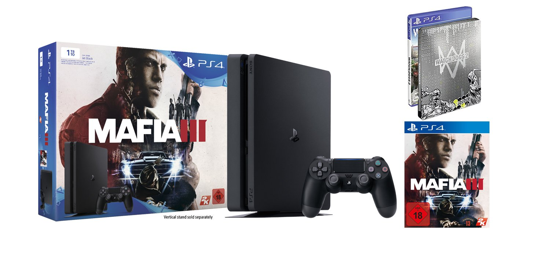 Playstation 4 Konsole 1tb Schwarz Slim Mafia 3 Watch Dogs Sony Ps4 Game 2 Standard Inkl Steelbook Edition Games