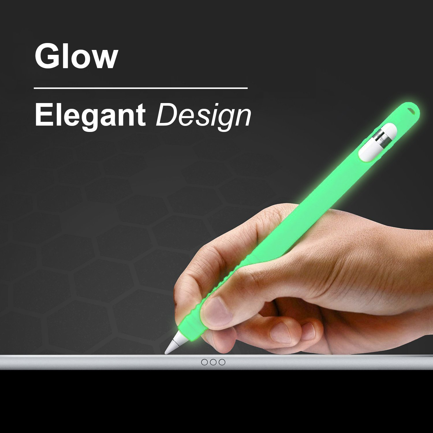 Glow in the Dark Version Transparent Green InventCase Silicone Protective Grip Case Cover for Apple Pencil iPad Pro Stylus Pen Styli