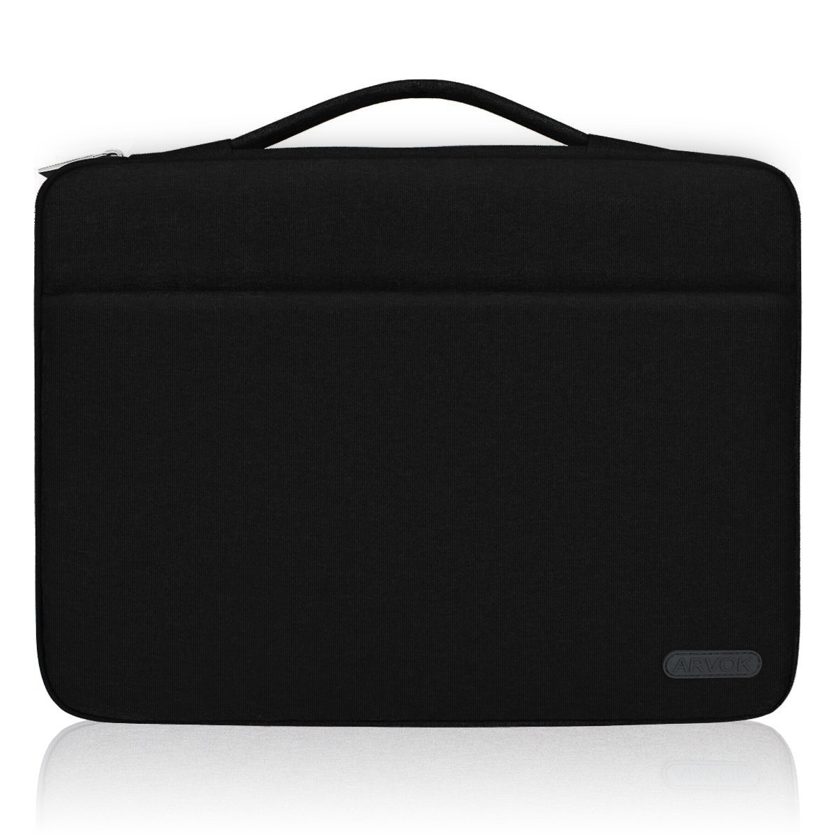 Arvok 15 15.6 Inch Water-resistant Canvas Fabric Laptop Sleeve with Handle & Zipper Pocket/Notebook Computer Case/Ultrabook Tablet Briefcase Carrying Bag for Acer/Asus/Dell/Lenovo/HP, Black
