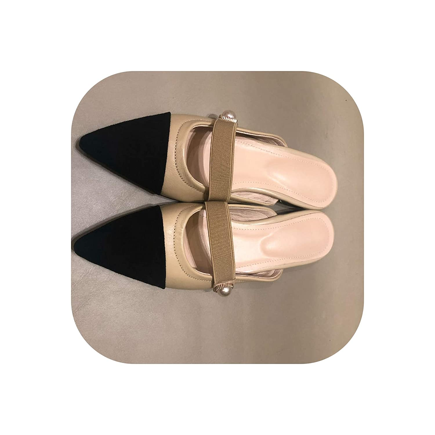 Apricot Slippers Woman Small Fragrance Women Slides shoes Female Sheepskin Flat MUL,