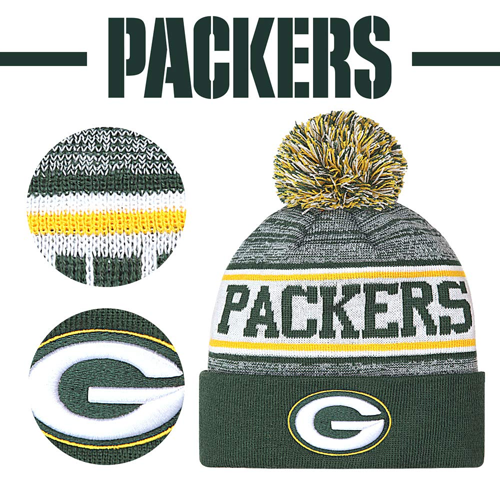 Gloral HIF Green Bay Packers Hat Winter Beanie Hats with Pom for Fans by Gloral HIF