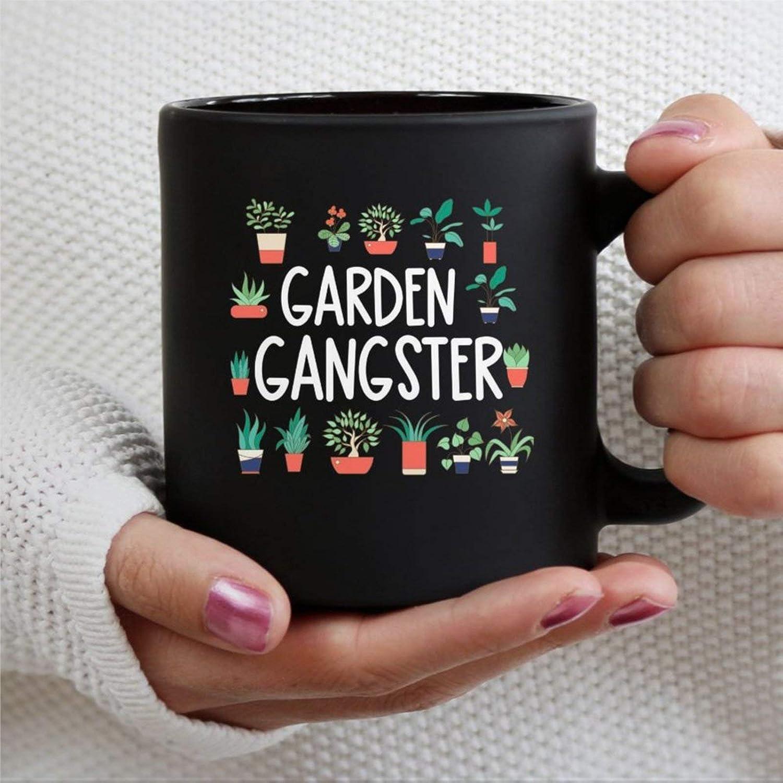 Garden Gangster Garden Lover Plant 11oz Black Coffee Mug Cup, Personalized Ceramic Tea Mug Beverage Mug for Thanksgiving,Christmas,Home & Office,Birthday.