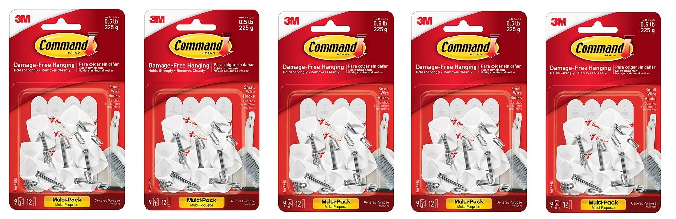 Command Wire Hooks Value Pack, Small, White, 9-Hooks (17067-9ES) (5)
