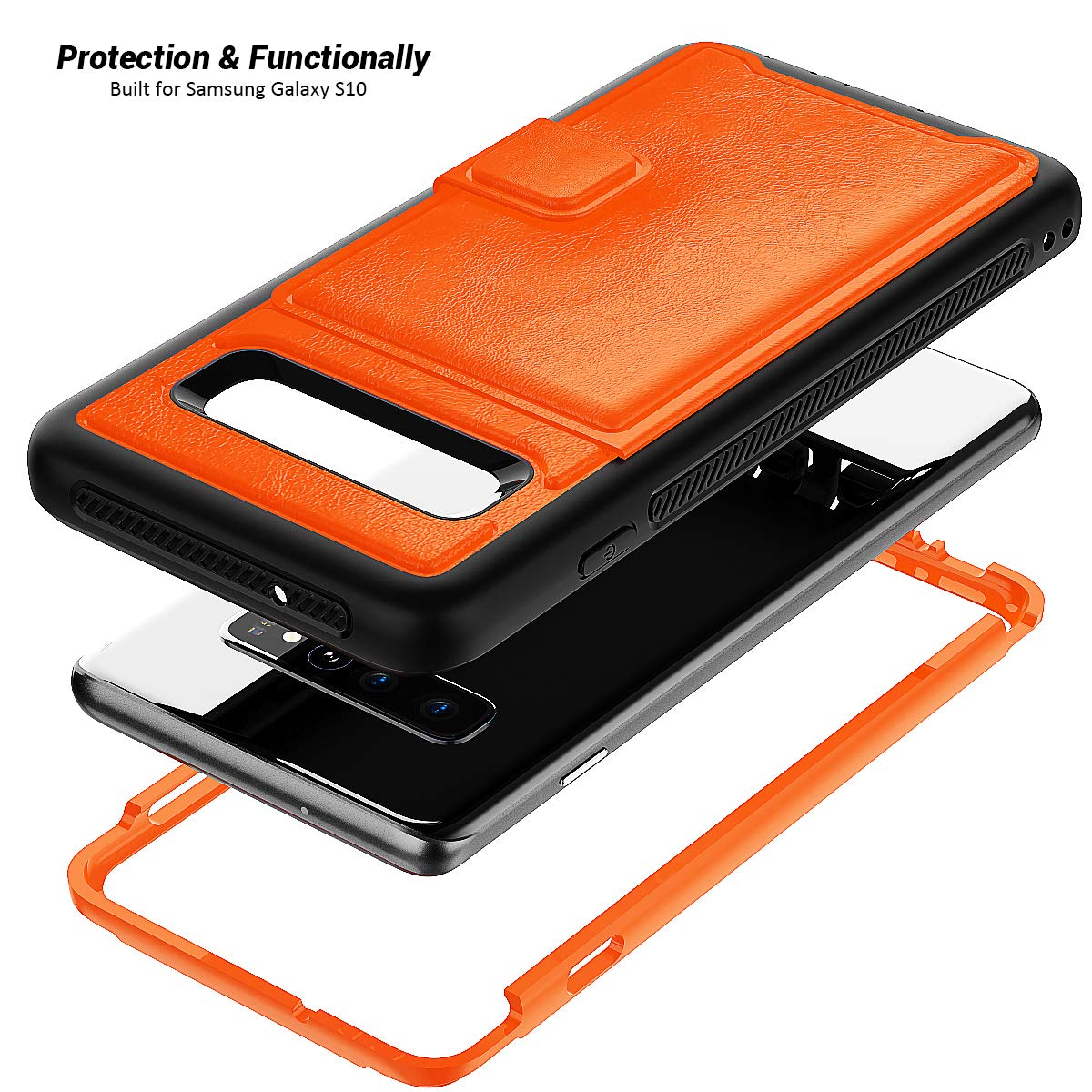 Galaxy S10 Plus Case, Sumsung S10 Plus Wallet Card Slots Holders Kickstand Flip Cover Bumper PU Leather Hard PC Frame Magnetic Slim Shockproof Durable Shockproof Protective Case Cover (Orange)