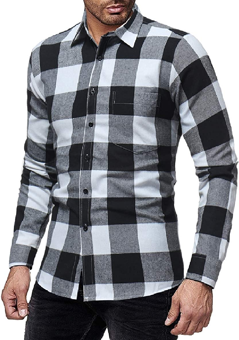 WillingStart Men Plaid Classic Printing Turn Down Collar Long Sleeve Cardigan Shirt