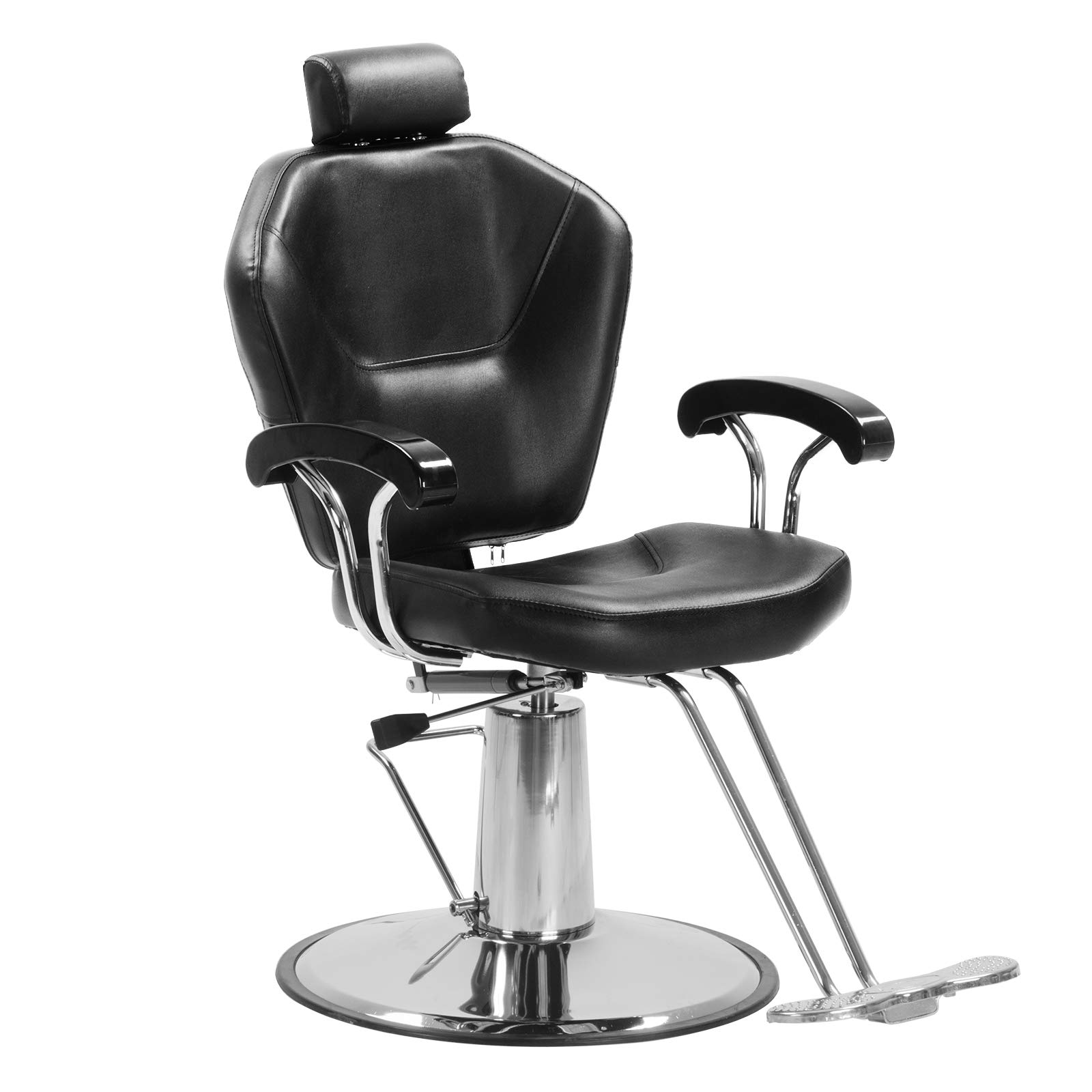 SUNCOO Hydraulic Barber Chair Reclining Spa Chair Beauty Shampoo Equipment- Solid Pedal, Adjustable Removable Headrest, Classic Hair Styling, 360 Degree Swivel, Black