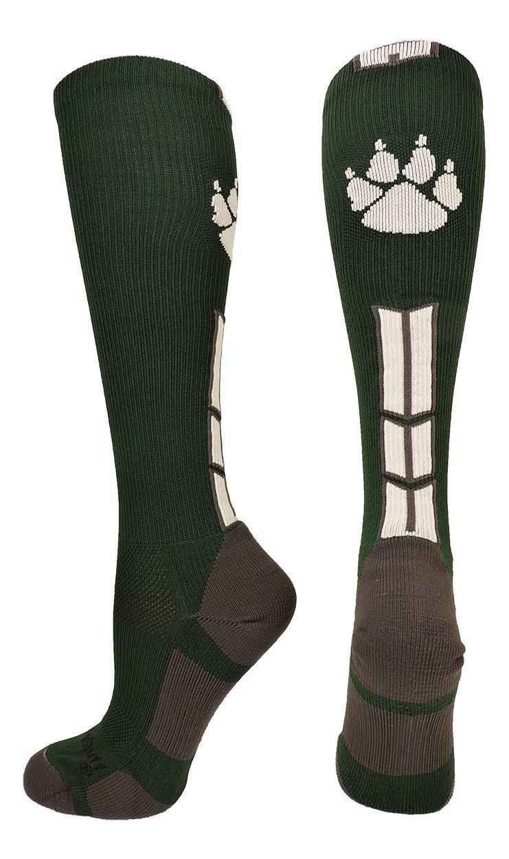 MadSportsStuff Wild Paw Over The Calf Socks (Dark Green/White, Large) by MadSportsStuff