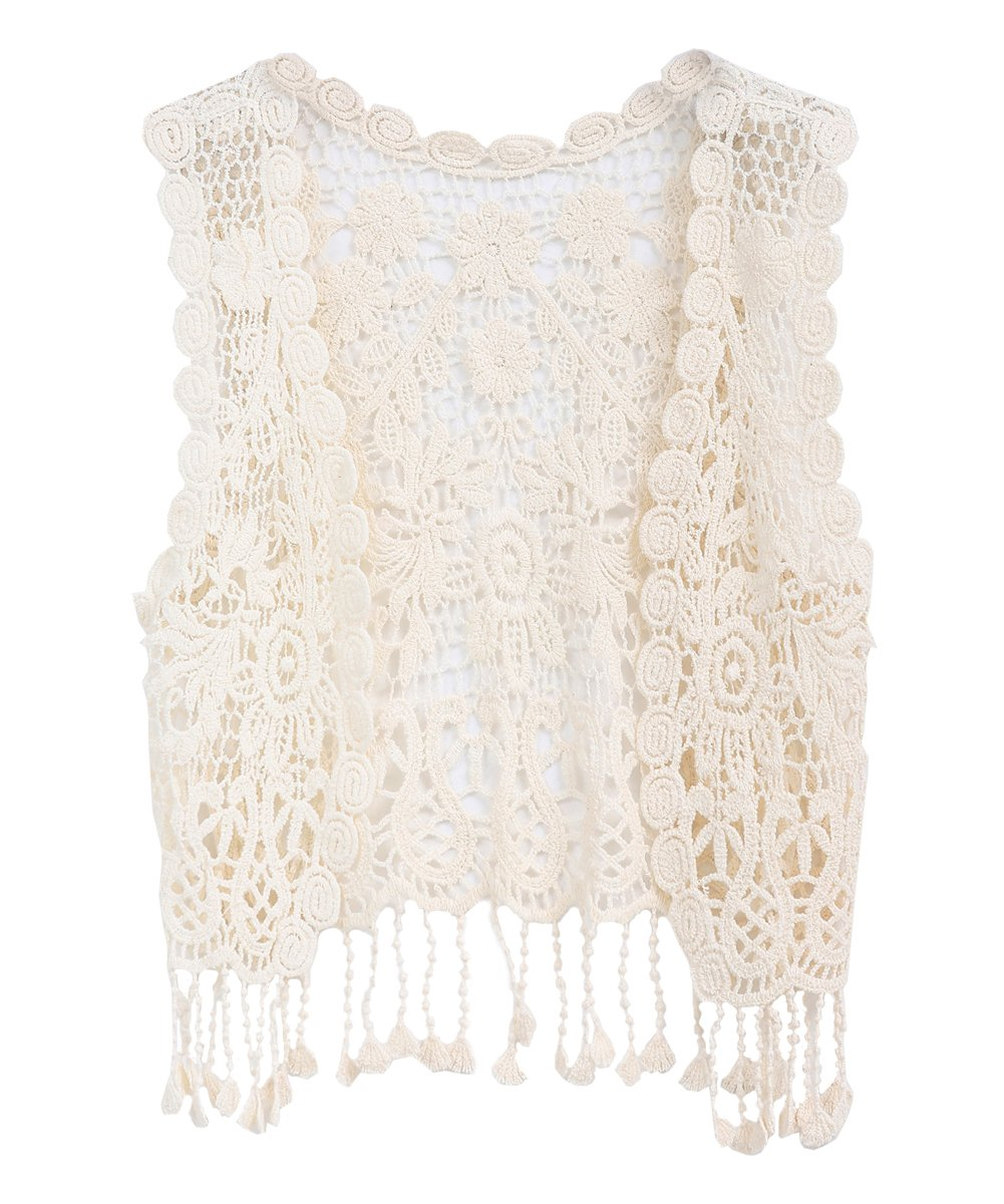 Zhuannian Little Girl's Crochet Vest with Fringe Beige car-hollow