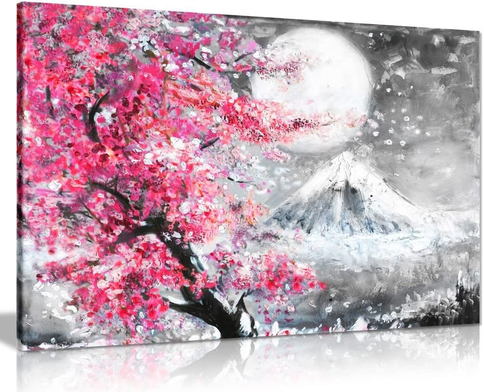 Pink Black & White Oil Painting Japanese Cherry Blossom Landscape Canvas Wall Art Picture Print (24x16)