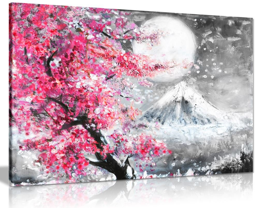 Pink black white oil painting japanese cherry blossom landscape canvas wall art picture print 24x16