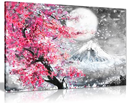 Pink Black U0026 White Oil Painting Japanese Cherry Blossom Landscape Canvas  Wall Art Picture Print (