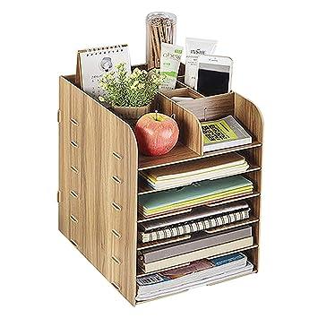 Organizador de escritorio madera, estantería de almacenaje ...