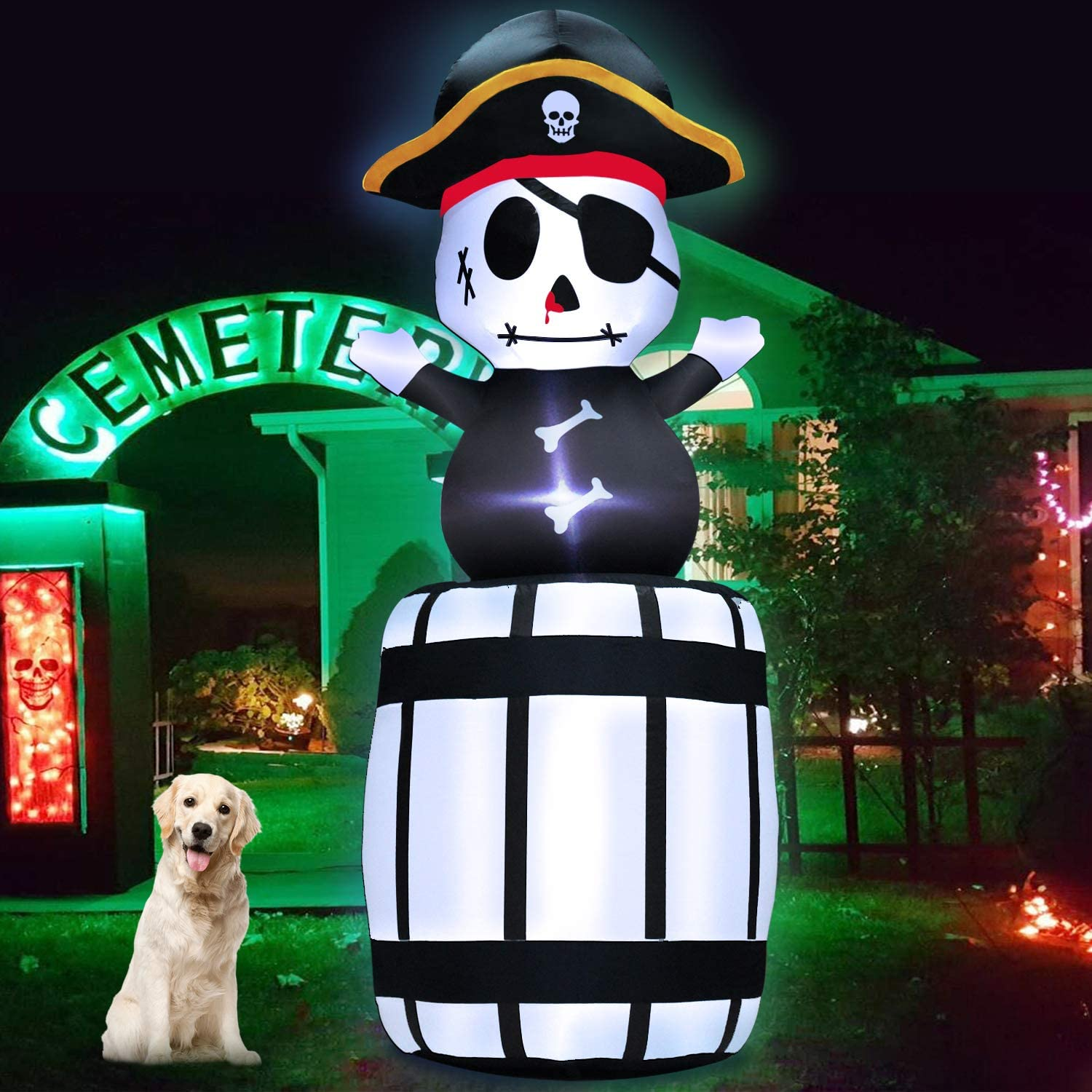 TURNMEON 7Ft Tall Inflatables Ghost Pirate Captain Halloween Air Blow Up Skeleton Inflatables Yard Scary Decor with Tethers Stakes LED Lights for Halloween Decorations Outdoor Indoor Home Lawn Garden
