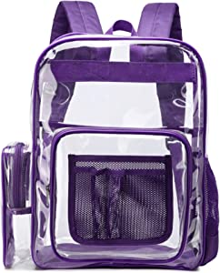 Clear Backpack,BuyAgain Heavy Duty Transparent Backpack Bookbag for School Work Travel,Purple