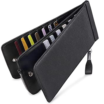 separation shoes a0497 684b4 Huztencor Slim Woman Credit Card Holder Rfid Blocking Mens Leather Credit  Card Wallet Protector Purse Case for Women Men with Zip Coin Pocket Black  ...