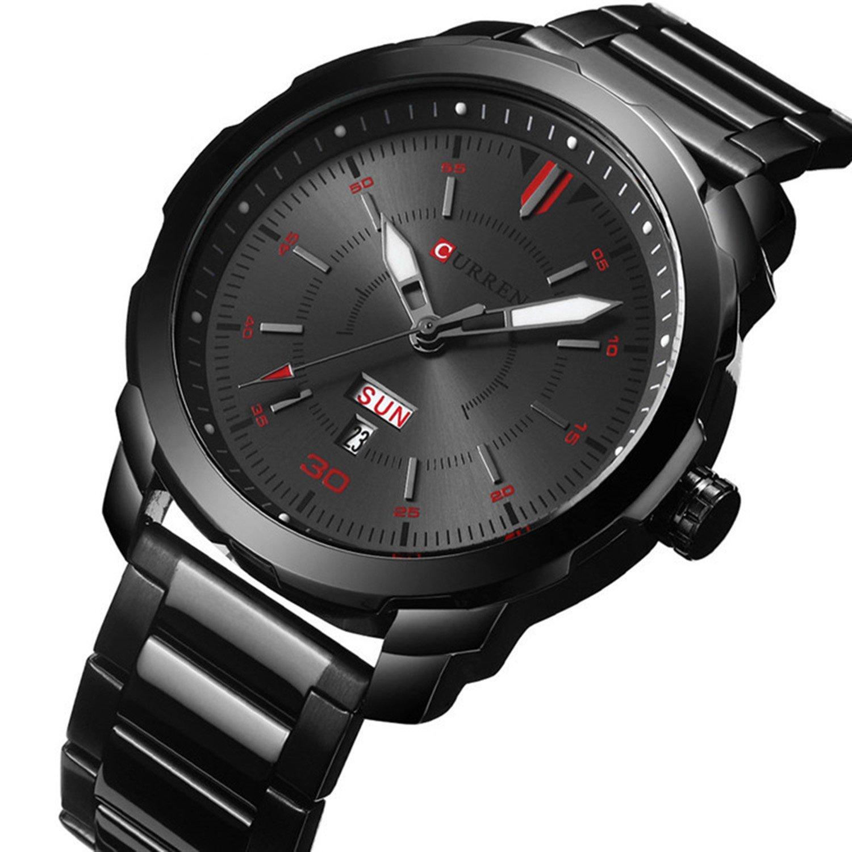 高級ファッションカジュアルカレンダースポーツ防水ビジネスBoyメンズMilitaryアナログクォーツ合金腕時計 ブラックレッド B076P9NPSMブラックレッド