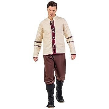 Costume paysan Moyen-Âge 3 pièces pour homme pantalon manchons chemise  Carnaval beige brun - 8d87c718df5