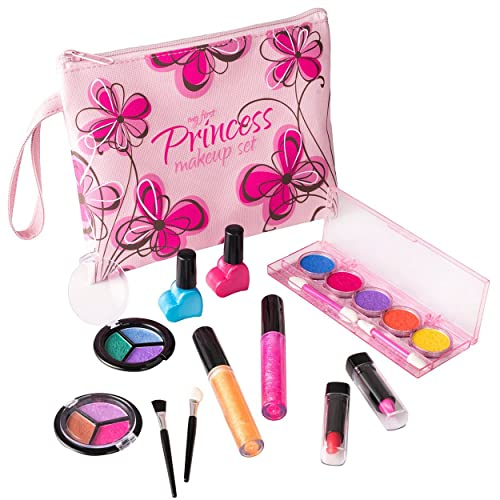 Playkidz My First Princess Cosmetic And Real Makeup Set Washable With Designer Floral Cosmetic Bag