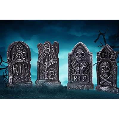 "Sizonjoy Pack of 4 Foam Grave Tombstones for Halloween Decorations, 17"" Lightweight RIP Grave Stone Decor-Perfect for Outdoor Party/Haunted House/Yard Decorations : Garden & Outdoor"
