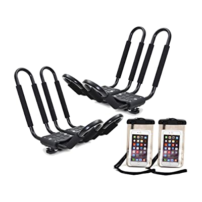 TMS 2 x Roof J Rack Kayak Boat Canoe Car SUV Top Mount Carrier w/Free Cell Phone Bag: Automotive