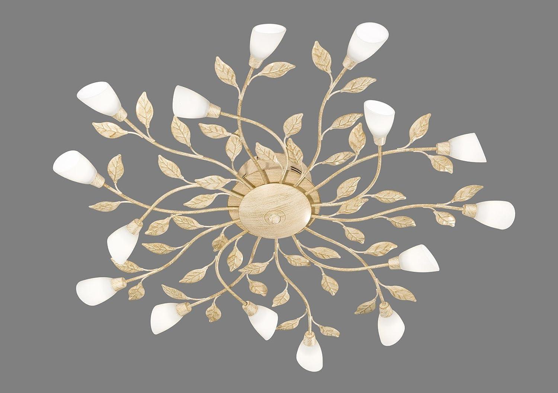 Trio Leuchten LED-Deckenleuchte rostfarbig antik, Glas weiß ...