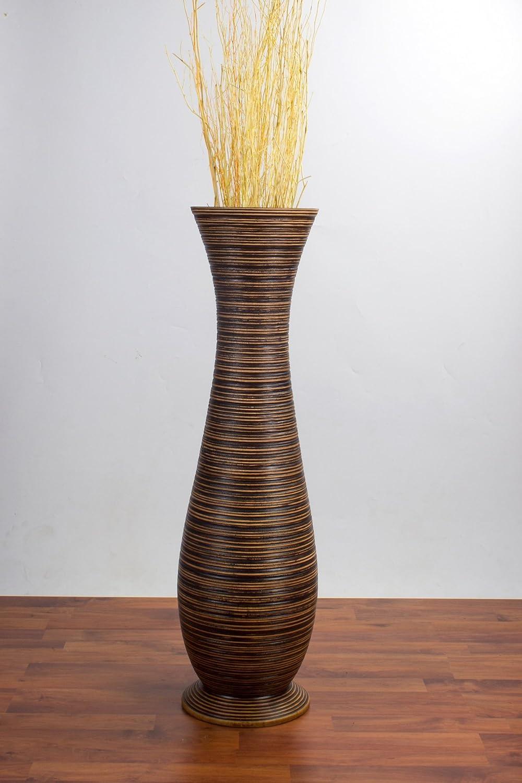 Leewadee Große Bodenvase für Dekozweige hohe Standvase 25x90 Design Holzvase, 25x90 Standvase cm, Holz, Braun 279ad8