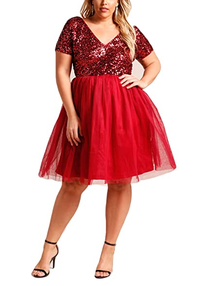 Debshops Womens [Plus Size] Sequin Tulle Flared Cocktail Party Dress Short Sleeves Bridesmaid Prom