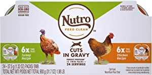 Nutro Perfect Portions Cuts in Gravy Variety Pack Real Turkey and Chicken Wet Cat Food, 1.98 lbs., Count of 12