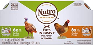 product image for Nutro Perfect Portions Cuts in Gravy Variety Pack Real Turkey and Chicken Wet Cat Food, 1.98 lbs., Count of 12